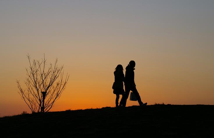 Enjoying a walk is a date night win.